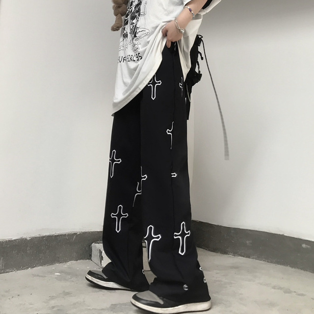 Streetwear goth pants with cross patterns