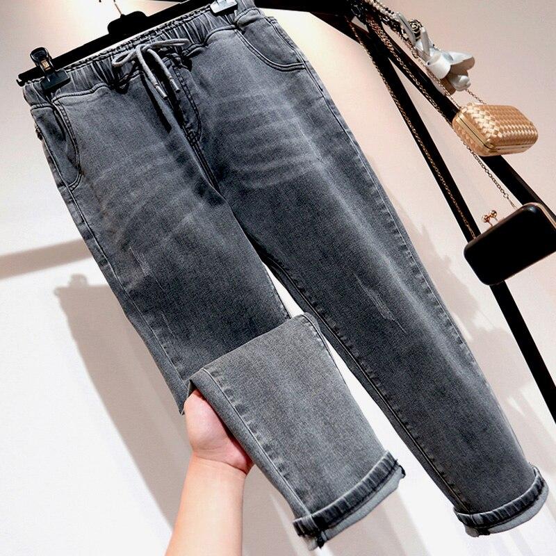 Jeans Woman  High Waist  Plus Size Loose Drawstring Ankle-length  Black Gray  Femme Mom Denim  Harem Pants 4XL 5XL