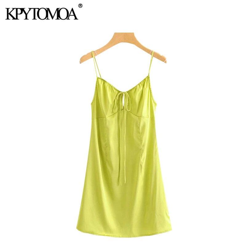 KPYTOMOA Women 2020 Chic Fashion Backless Cozy Mini Dress Vintage Tied V Neck Spaghetti Strap Female Dresses Vestidos Mujer