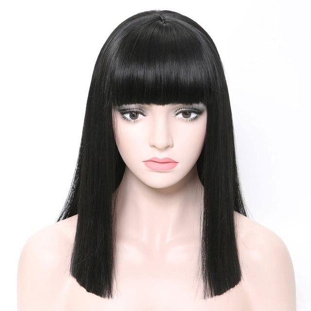 COSYCODE 여성을위한 bangs와 블랙 합성 가발 16 inch 40 cm 코스프레 가발 어깨 길이 의상 가발 스트레이트