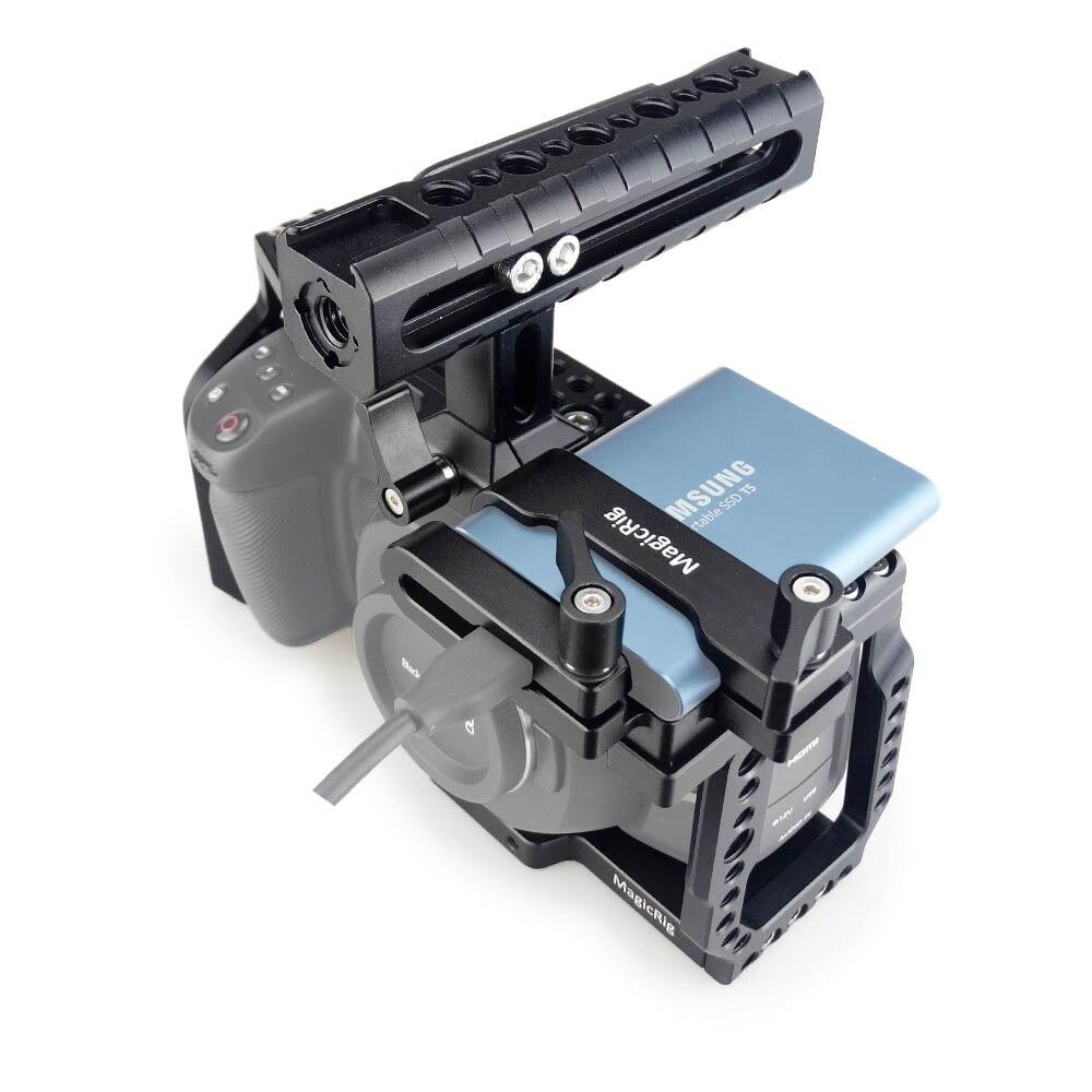 Gaiola da Câmera de Magicrig k com Punho da Otan + Braçadeira de Montagem do Cartão de t5 Ssd para a Câmera de Cinema de Bolso Bmpcc Blackmagic k – 6 4 de t5