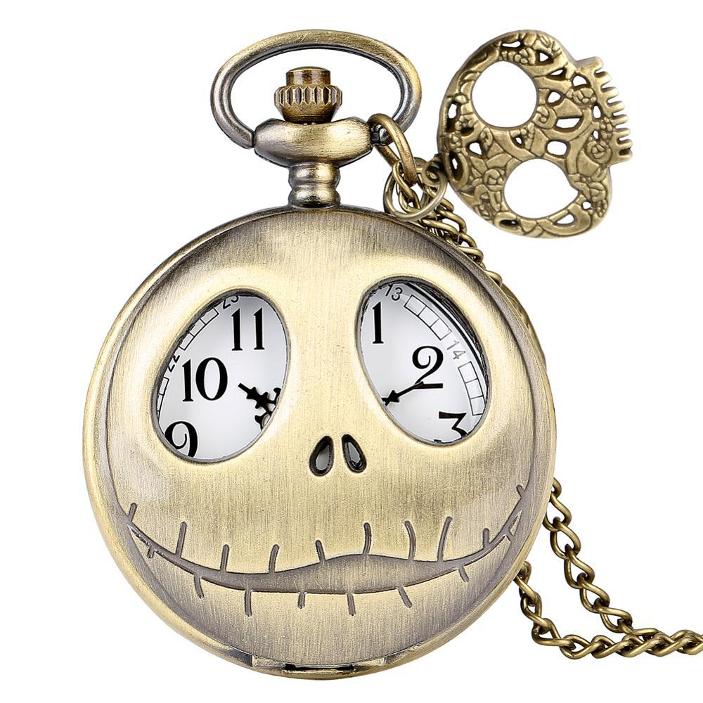 Tim Burton The Nightmare Before Christmas Pocket Watch Retro Quartz Pendant Big Eyes Frog Jack Skellington Necklace Skull Watch