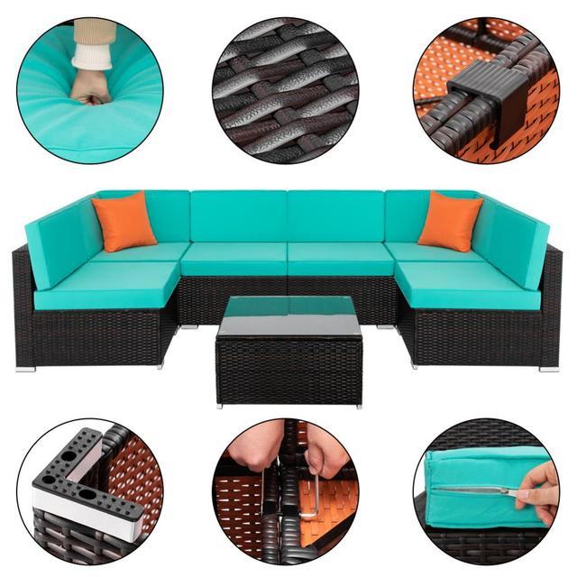7 IN 1 Garden Rattan Sofa Furniture Set  4