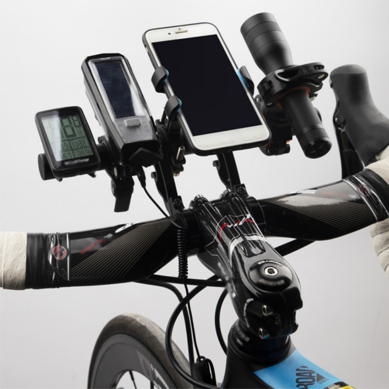 Practical MTB Road Bike Double Handlebar Extender Cycling Light Phone Bag Holder