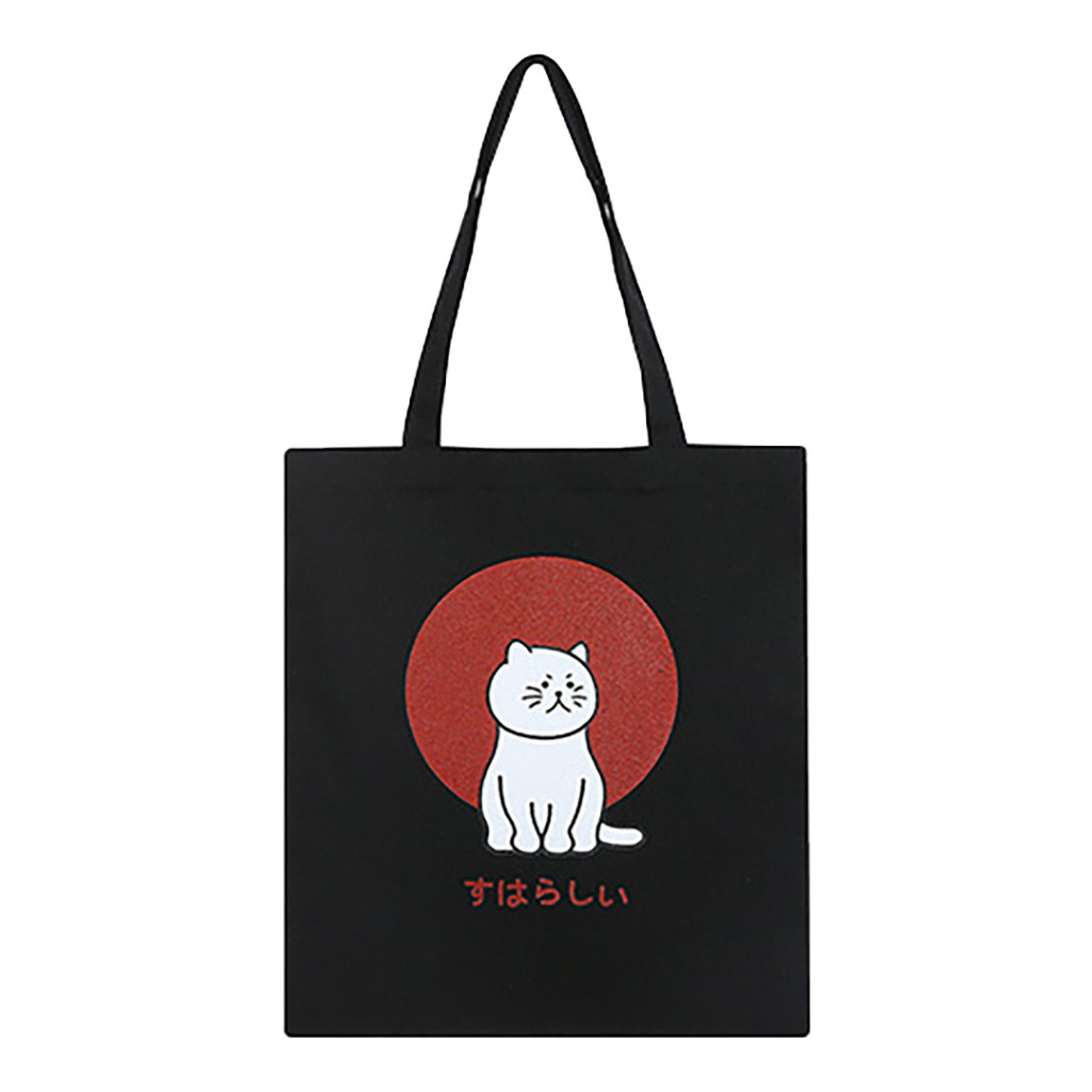 Tote Bag Fashion Women Canvas Printing Cute Cat Shoulder Bags Large Capacity Shopping Bag Sac Main Femme Shopper Bags