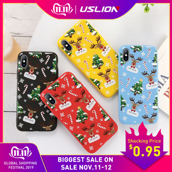 USLION Cartoon Christmas Case For iPhone 11 Pro Max 7 8 6 6S Plus Santa