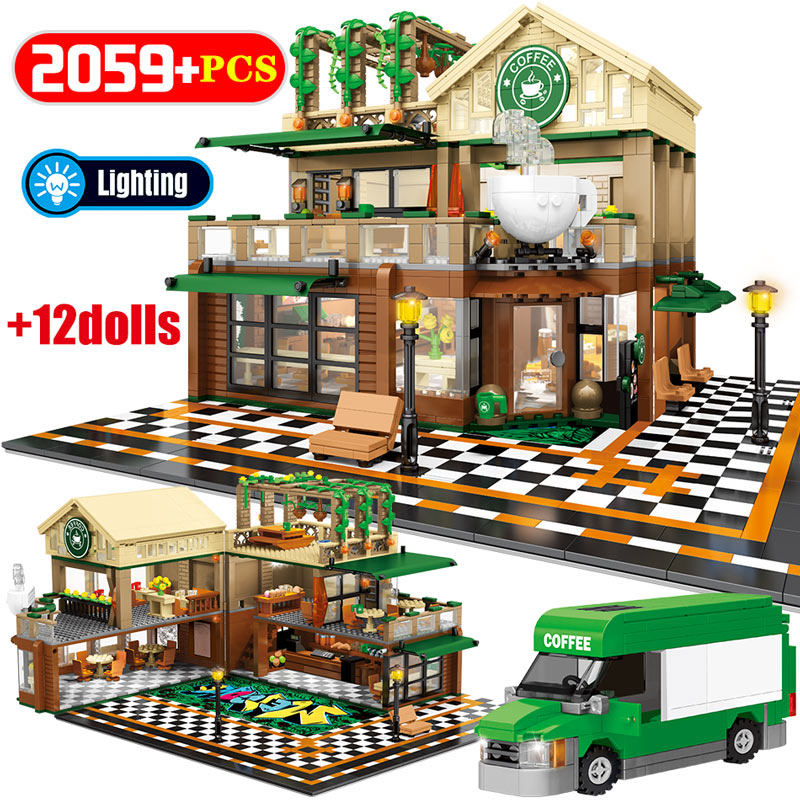 2095Pcs City House with Light Model Building Blocks for  Street View Casual Coffee Shop Bricks Gifts Toys For Children