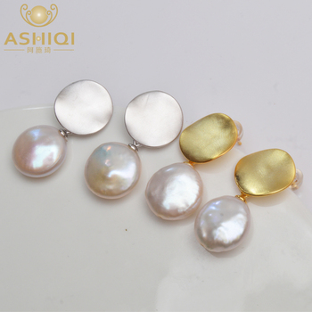 ASHIQI Real 925 Sterling Silver Korean Earring Natural Freshwater Pearl  fashion jewelry for women