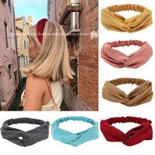 Damskie letnie zamszowe pałąk Vintage krzyżowy węzeł Turban elastyczne gumki do włosów miękkie stałe dziewczyny Hairband nakrycia głowy akcesoria do włosów
