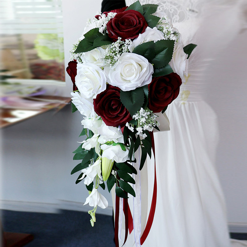 Fake Flowers Bouquet  Artificial Burgundy White Purple Bouquets Of Flowers For Brides Rose Wedding Flowers Bridal Bouquets