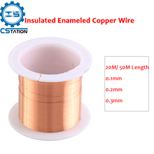 0.1mm 0.2mm 0.3mm Insulated Enameled Copper Wire Magnet Winding Coil Cable 20M/ 50M