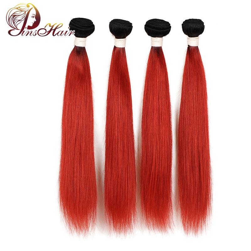 T1B/Red Colored Burgundy Ombre Straight Hair Bundles Pinshair Non-remy Hair Weave 4 Bundles Brazilian 100% Human Hair Bundles