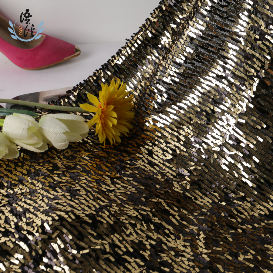 5 Yards 3*9mm Double Complexion Small Blade Sequin Cloth Black Side And Gold Side Reversible Vertical Blade Embroidery Fabric