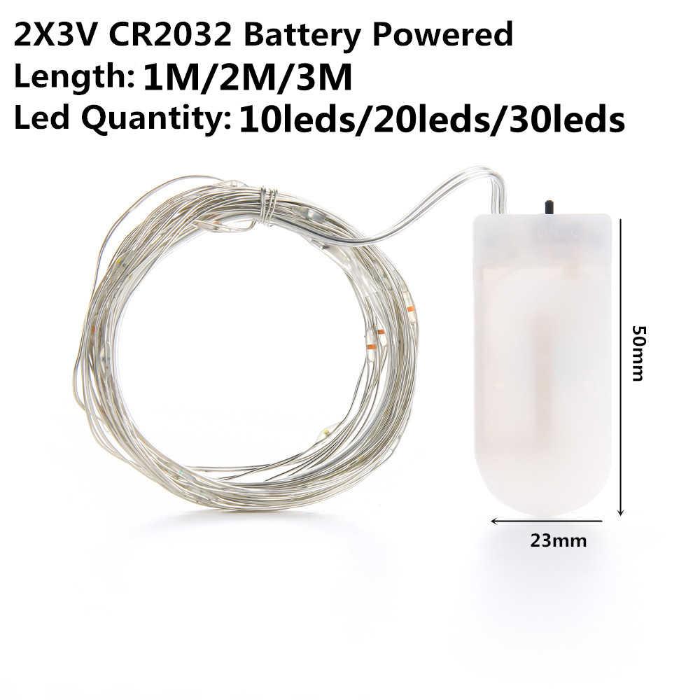LED سلسلة ضوء الفضة سلك الجنية الدافئة الأبيض جارلاند المنزل عيد الميلاد حفل زفاف الديكور بالطاقة CR2032 بطارية تعمل بالطاقة