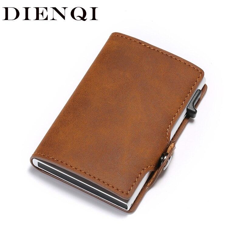 DIENQI 2020 Unisex RFID Card Holder Wallets Men Women Vintage Card Wallet Slim Thin Pop Up Money Bag Anti-theft Drop-shipping