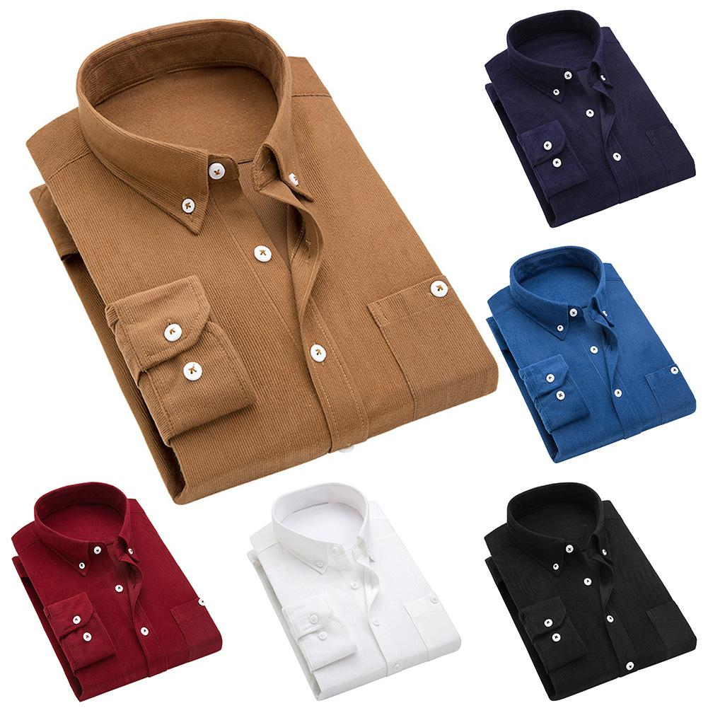 2019 Winter Men's Corduroy Slim Men's Long-sleeved Thick Shirt Men's Dress Men's Casual Solid Color Men's Shirt Fleece