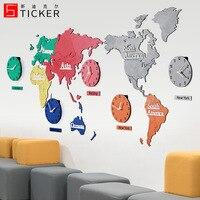 Grande 3d relógio de parede moderno europeu mapa do mundo relógios parede luxo decoração da sua casa sala estar silencioso horloge mural presente d06
