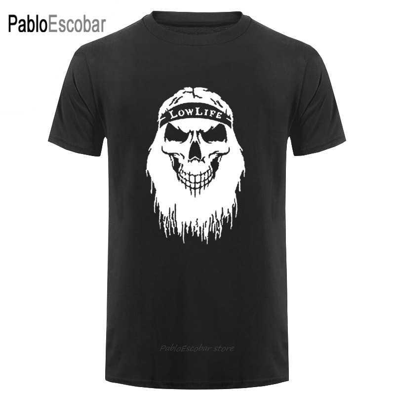 Rockabilly Skull Beard Barber Shop logo Mens Printed T-Shirts