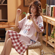 BZEL nouveau rose chemises de nuit pour les femmes col rond chemise de nuit vêtements de nuit Kawaii dessin animé vêtements de nuit coton dames Pijama printemps Homewear(China)
