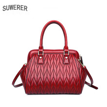SUWERER 2019 New Women Genuine Leather bags Fashion embossing top cowhide Large capacity tote women leather shoulder bag
