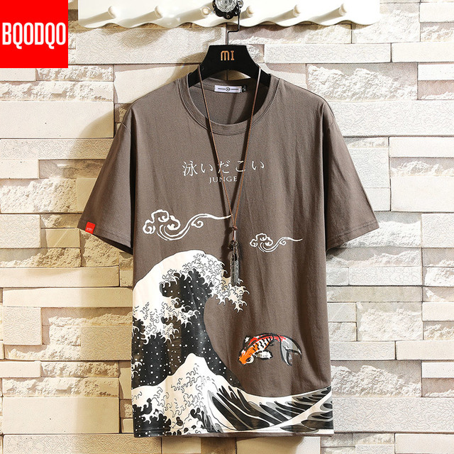 Funny Anime Print Oversized Men T Shirt Hip-Hop Cotton T-shirt O-neck Summer Japanese Male Causal Tshirts 5XL Fashion Loose Tees 3