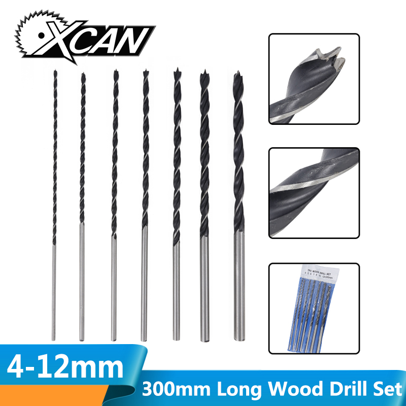 XCAN 7pcs 4-12mm 300mm(12'') Extra Long Wood Drill Set High Carbon Steel Woodworking Hole Cutter Gun Drill Bit Twist Drill Bit