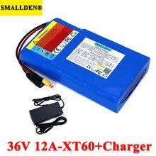 Batterie Lithium 36V 12ah 18650 12000mAh, BMS 20a à haut débit pour équilibrer la tondeuse à gazon de scooter et vélo électrique avec chargeur 42V 2a