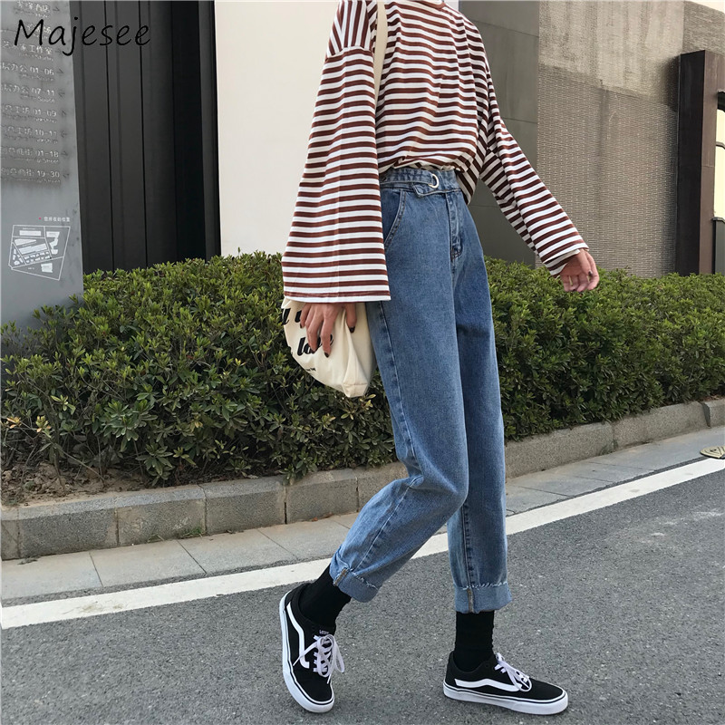 Jeans Women Large Size 5XL Loose Simple Denim All-match Student Womens Trousers High Waist Ankle-length Straight Chic Harajuku