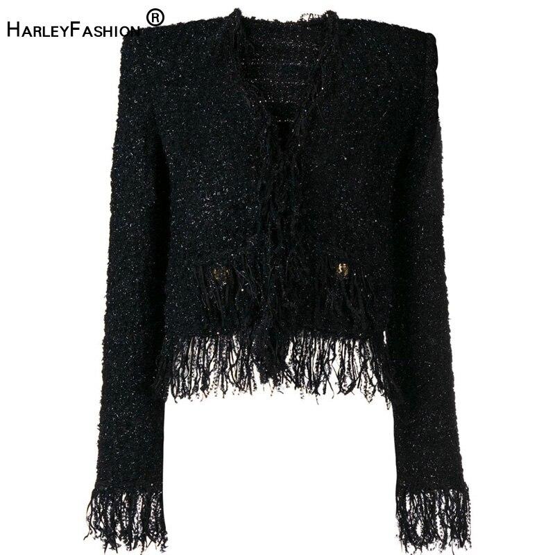 Autumn Winter Design Women Elegant Tassel Short Coats Double Breasted Tweed Slim Chic Jacket High Quality