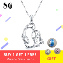 Mothers Day Necklace 925 sterling silver lovely Penguin Mom and kid Necklaces & Pendants Authentic Sterling Silver Jewelry