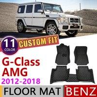 Custom Leather Car Floor Mat for Mercedes Benz G Class AMG 2012~2018 5seats Foot Pad Carpet Accessories G63 2013 2014 2015 2016