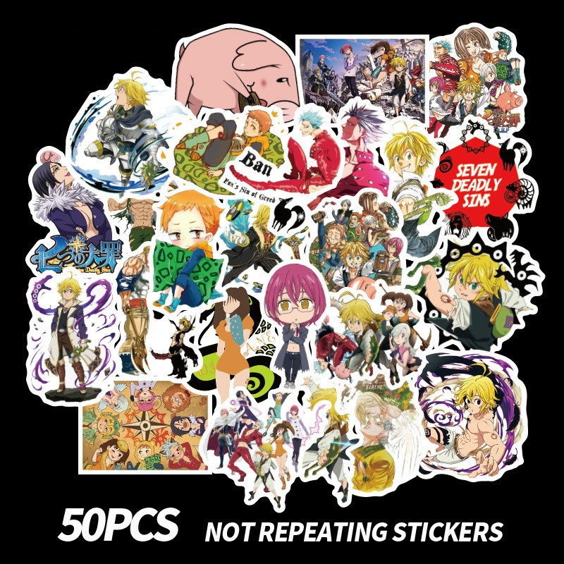 50 PCS The Seven Deadly Sins Sticker For Laptop Luggage Bicycle Motorcycle Skateboard Decal Graffiti Waterproof Stickers