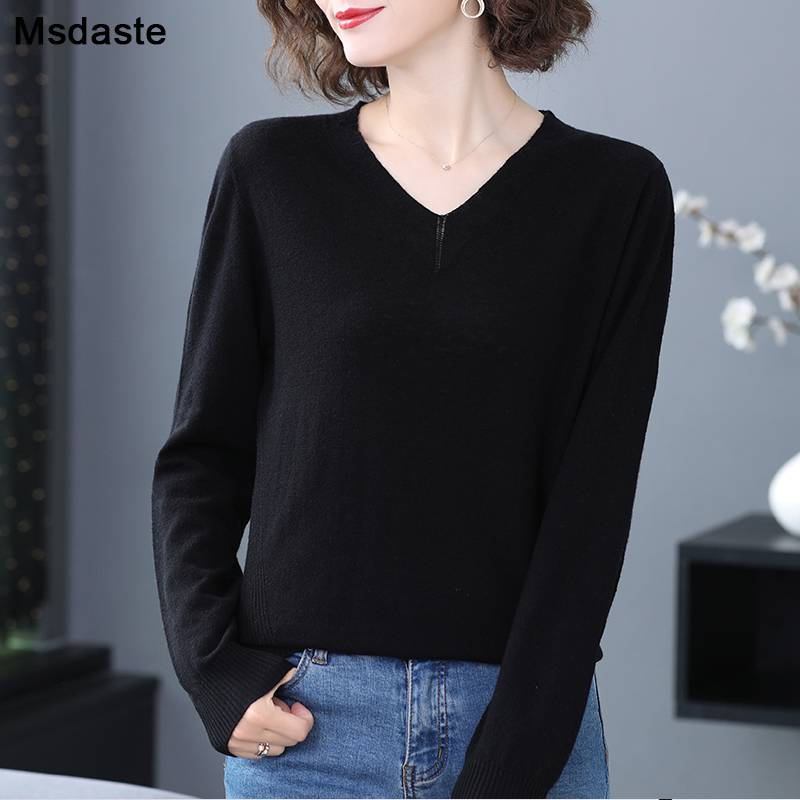 Sweater Women 2019 Winter Solid V-neck Long Sleeve Casual Lady Knitted Tops Basic Knitwear Pull Femme Soft Warm Woman Pullovers