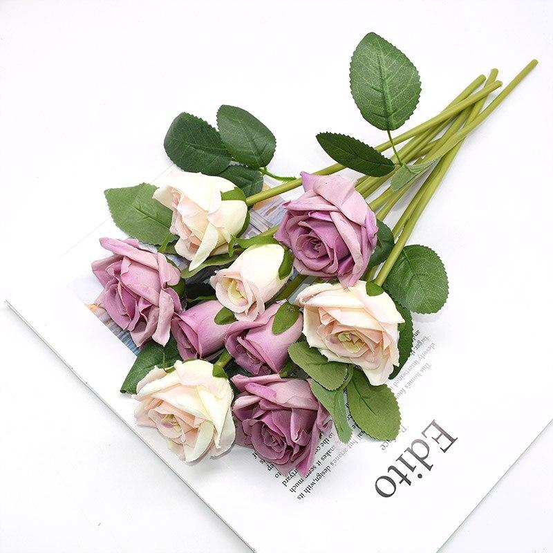 9pcs/set 4cm 7cm Silk Rose Flower Bouquet Real Touch Fake Flowers for Wedding Decoration Bridal Hold Bouquet Home Garden Supplie