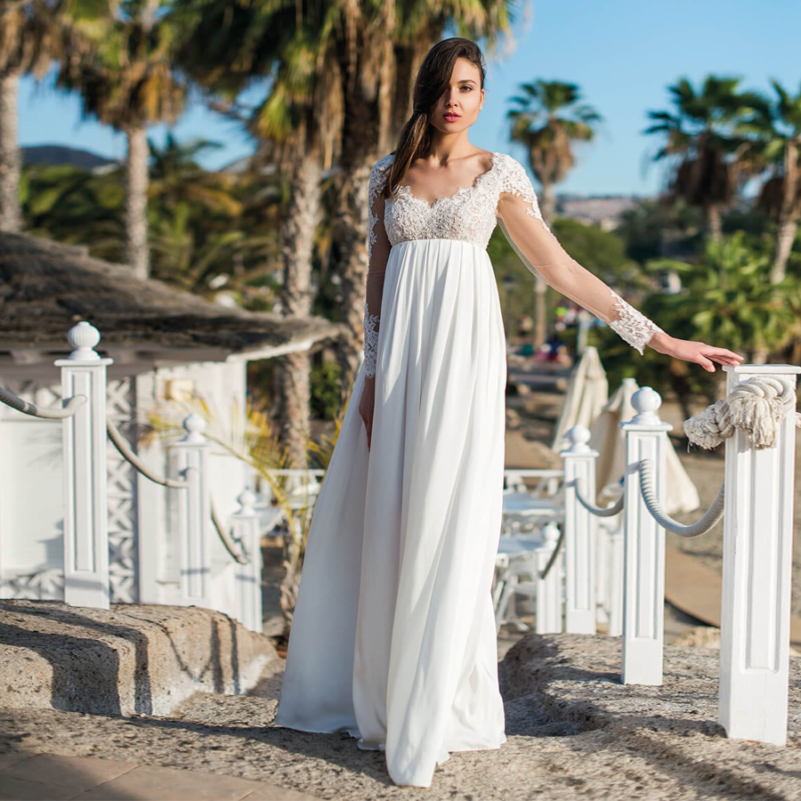 V-neck Original Lace Empire Waist A-line Long Sleeves Wedding Dress Chiffon Beach Open Back Pregnant Bridal Dresses