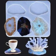 Bamala reçine kalıpları Coaster kalıpları 5 büyük boy düzensiz desenler epoksi silikon kalıplar Coaster kalıpları reçine döküm
