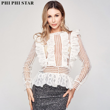 Phi Star Brand O neck elegant see through Smock sexy Ruffle ladies Transparent grid top office mesh blouse Long sleeve