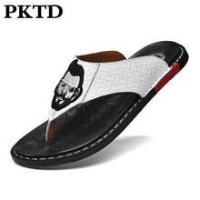 Sandalias al aire libre para hombres, nuevas de cuero 2020, chanclas en espiga, moda informal, antideslizante, zapatos de marea resistentes al desgaste