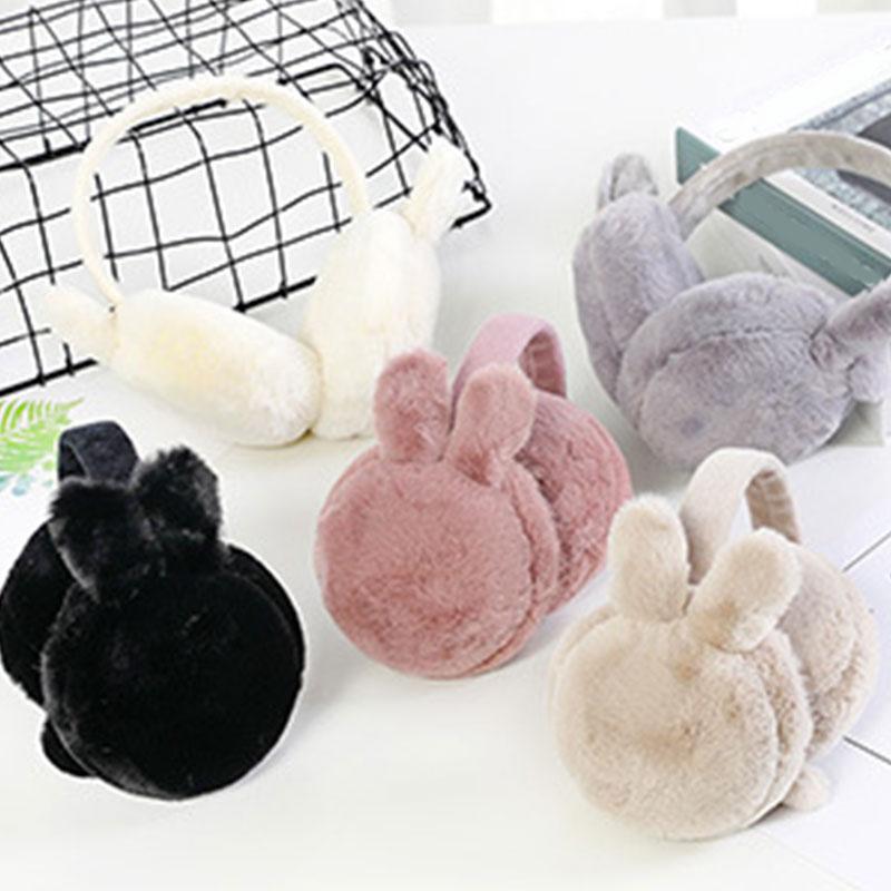 Hot Sale Winter Plush Warm Earmuff For Girls Rabbit Ears Fur Headphones Pink White Foldable Ear Muffs Girls Lovely Ear Cover New