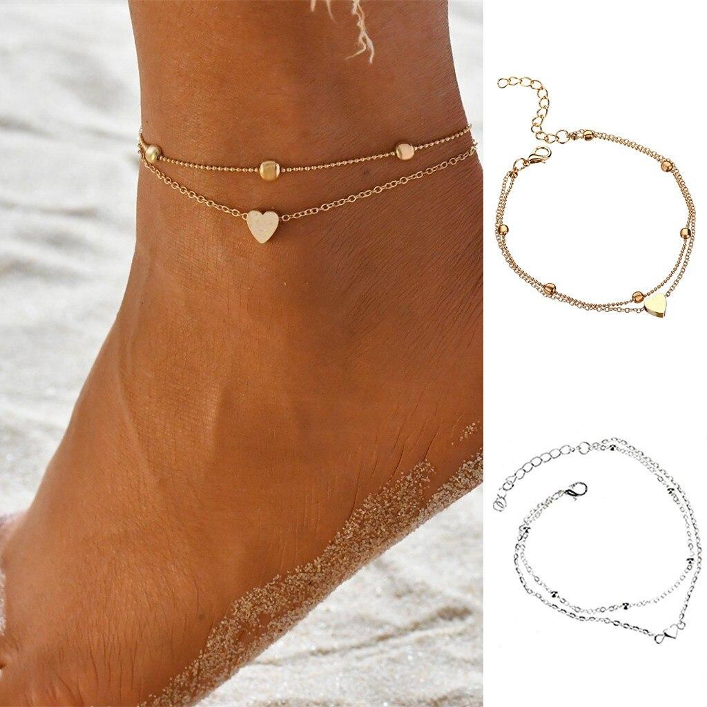 Moda tobillera para señora joyas de verano playa pulsera para el tobillo de acero inoxidable pulseras amor colgante de corazón tobillo pulsera Bijoux Femme
