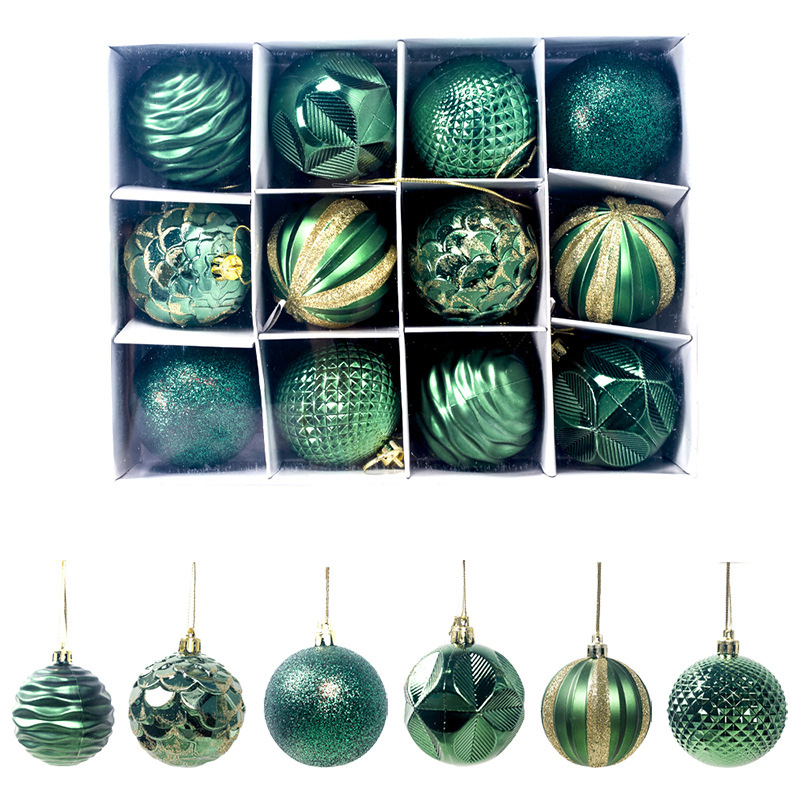 12Pcs/Set 60mm Christmas Xmas Tree Ball Bauble Hanging Home Party Ornament Decor Colorful Red Gold Ball New Year Wedding