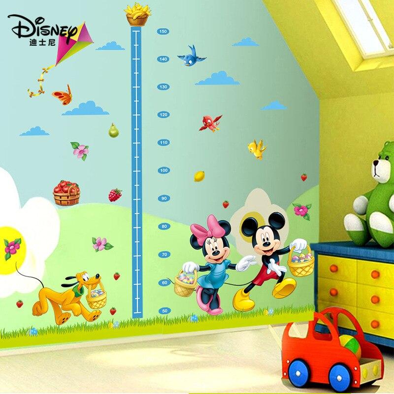 Disney Stickers Cartoon Mickey Mouse Minnie Dog Birds Kids Baby Nursery Bedroom Wall Sticker Height Measure Growth Chat Decor