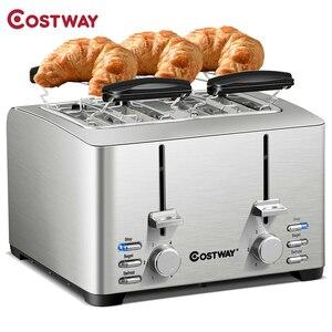 COSTWAY Экстра-широкий слот из нержавеющей стали 4 ломтика тостер EP24541US