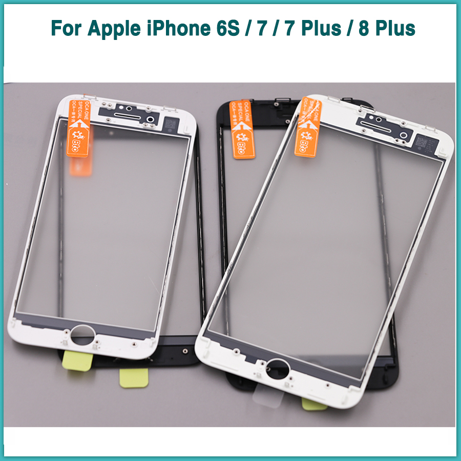 LCD Front Glass + OCA Film For Apple iPhone 6S 7 Plus 8 Plus LCD Outer Touch Screen Panel + Cold Press Frame Bezel image