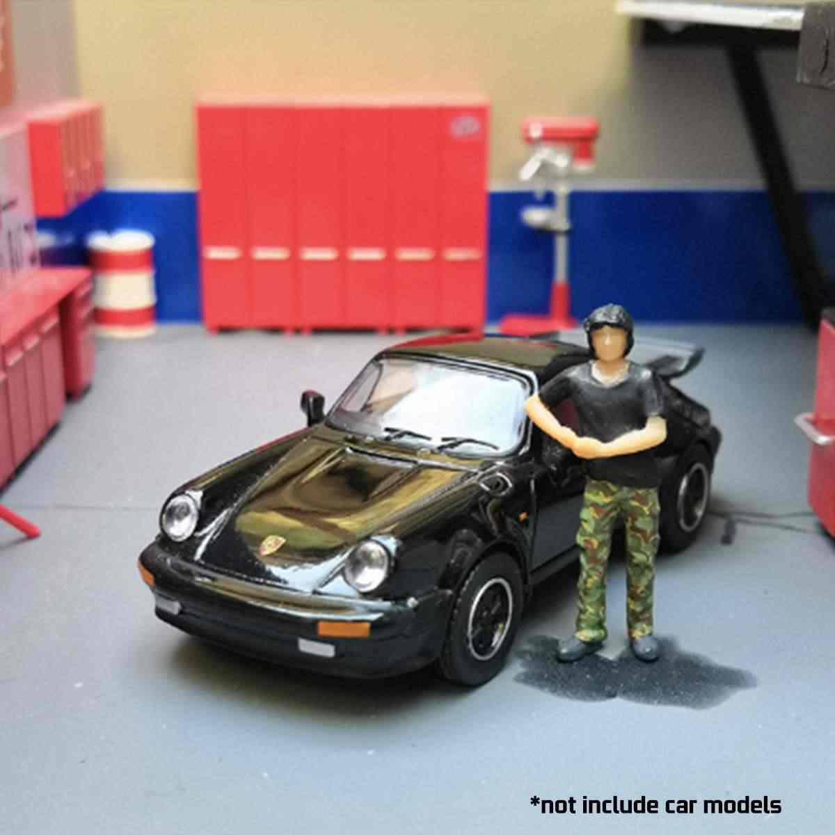 1: 64 Skala Model Kota Mobil Pria Perbaikan Gambar Model Skenario untuk Race Medali Kotak Korek Api Chirldren Mainan Group Mode Orang