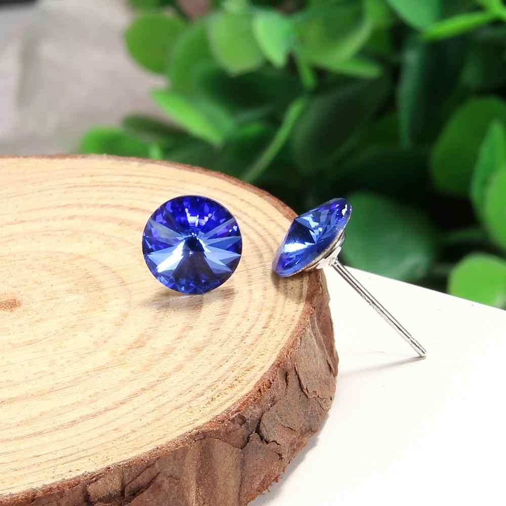 Klasyczne kolczyki 925 srebro niebieski kryształ stadniny kolczyki dla kobiet dziewczyn prezenty ślubne biżuterii