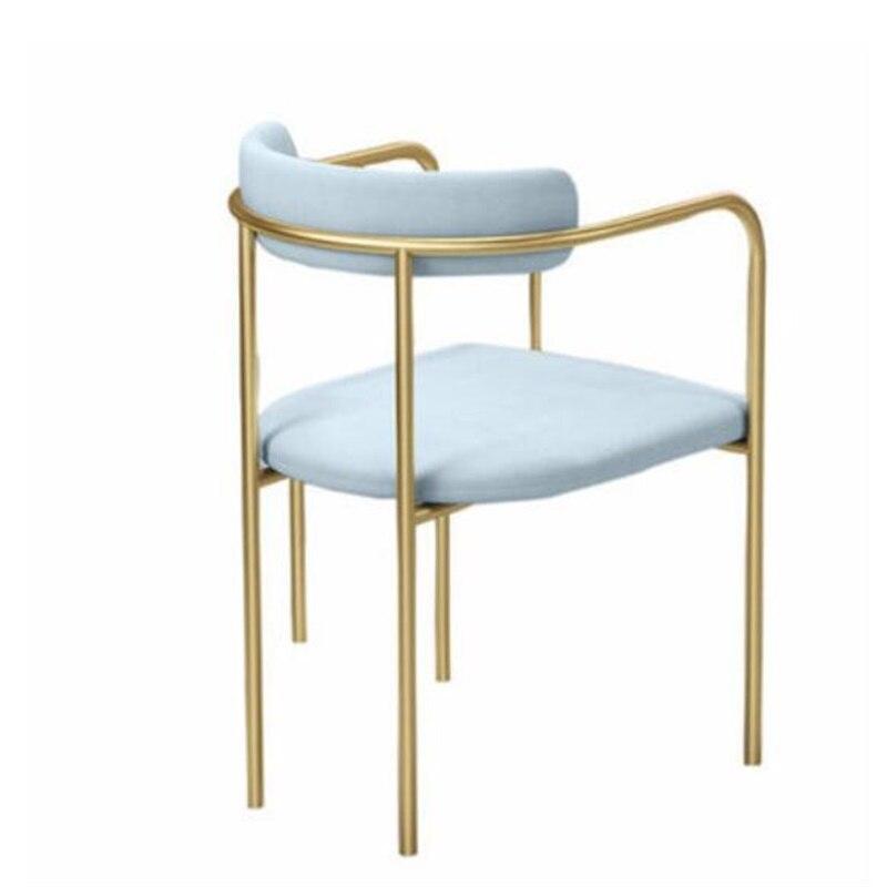 75*45*45 см высококачественное Скандинавское обеденное кресло из кованого железа, стул для конференций, стул с спинкой, стулья для отдыха - Цвет: Небесно-голубой