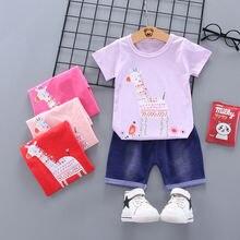 2 шт хлопковая футболка и шорты для новорожденных девочек