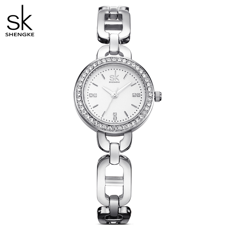 Shengke Brand Fashion Women Wirstwatches Golden Quartz Clock Crystal Dial Women Watches Girl Bracelet Watch Reloj Mujer 2017 SK