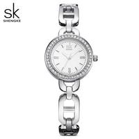 Shengke marka moda kobiety Wirstwatches złoty zegar kwarcowy kryształowa tarcza kobiety zegarki dziewczyna bransoletka zegarek Reloj Mujer 2017 SK w Zegarki damskie od Zegarki na